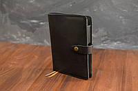 Обложка для ежедневника формата А5 Модель №13, Итальянская кожа Краст, цвет Черный