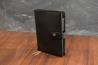 Обложка для ежедневника формата А5 Модель № 13, Итальянская кожа Краст, цвет Черный