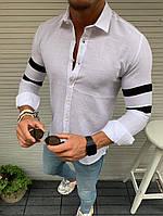 Мужская белая Рубашка с черными полосками