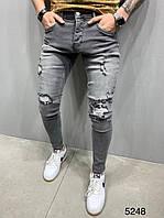 Мужские джинсы рваные серые 2Y Premium 5248