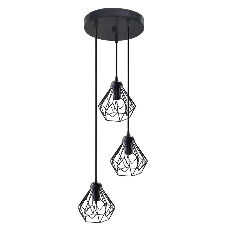 """Подвесной металлический светильник, современный стиль, loft, vintage, modern style """"SKRAB-3GB"""" Е27  черный"""