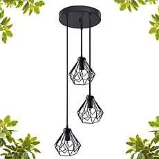 """Подвесной металлический светильник, современный стиль, loft, vintage, modern style """"SKRAB-3GB"""" Е27  черный, фото 3"""