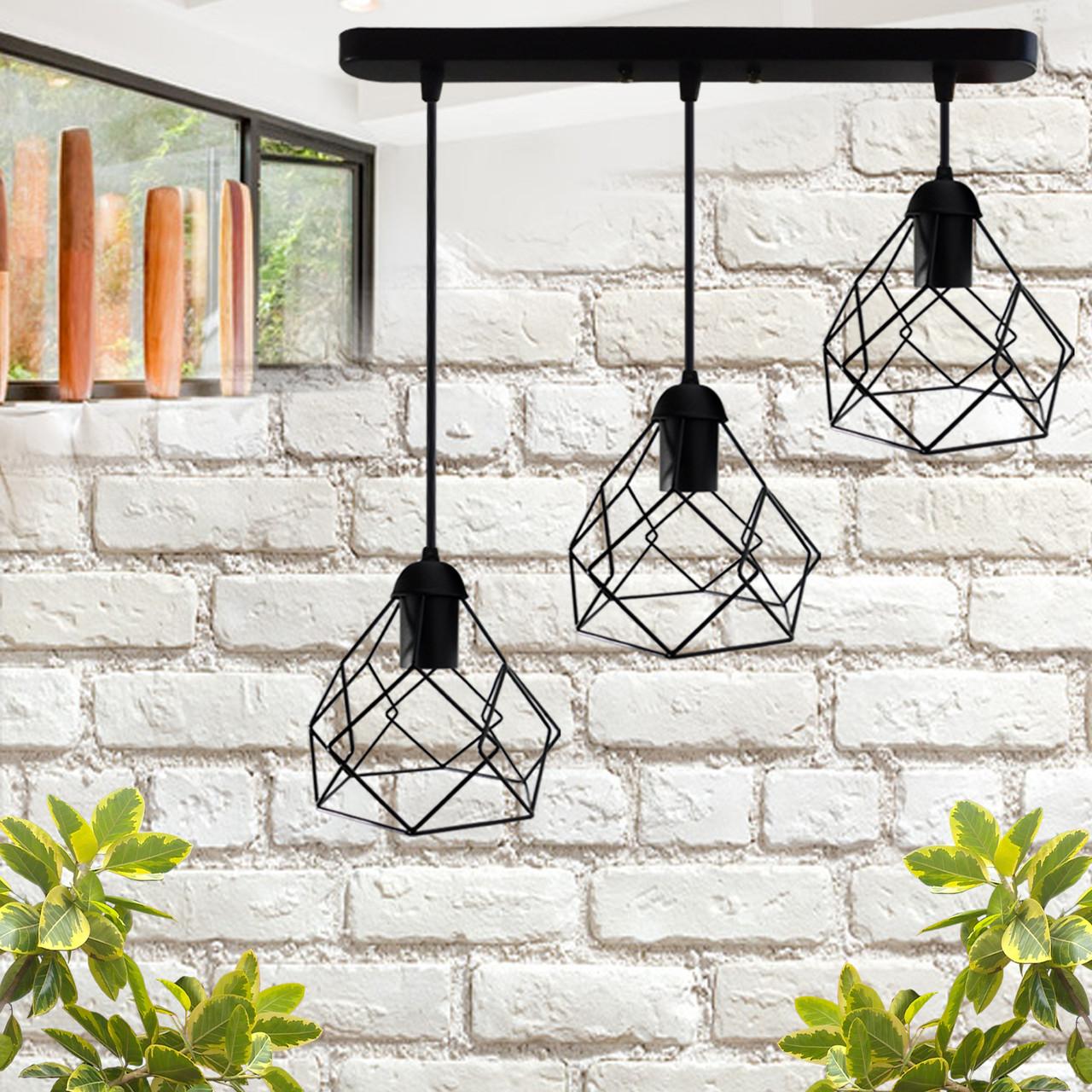 """Подвесной металлический светильник, современный стиль, loft, vintage, modern style """"RUBY-3"""" Е27  черный цвет"""
