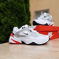 Женские кроссовки в стиле Nike M2K Tekno белые с красным, фото 1