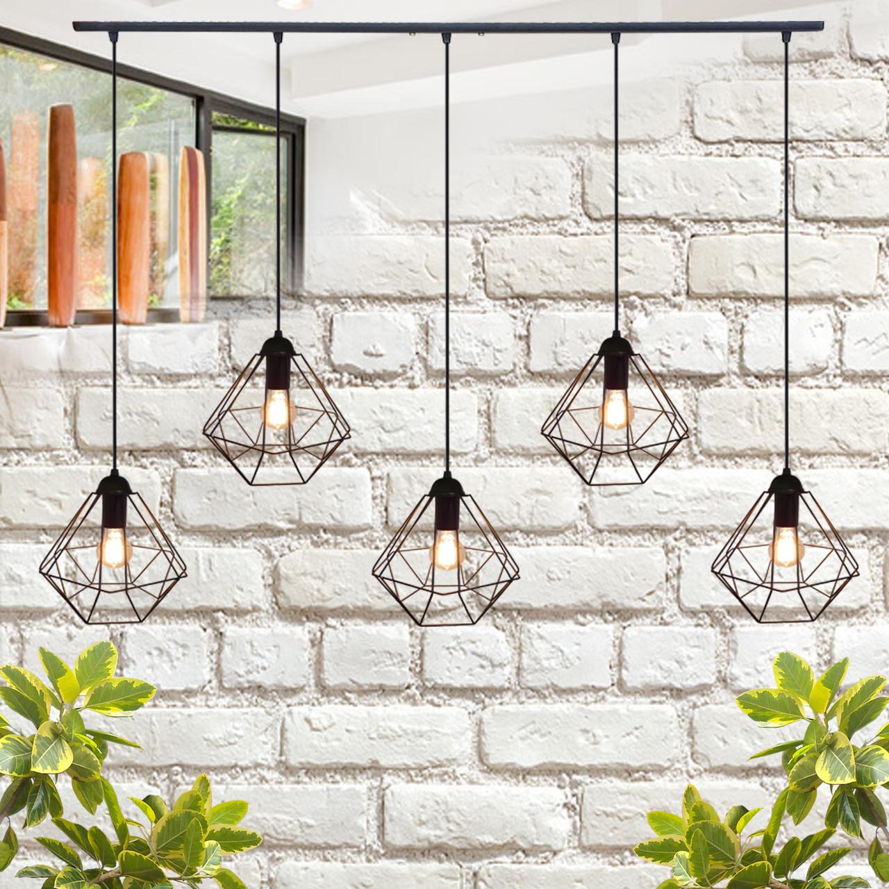 """Подвесной металлический светильник, современный стиль, loft, vintage  """"CLASSIC-5"""" Е27  черный цвет"""