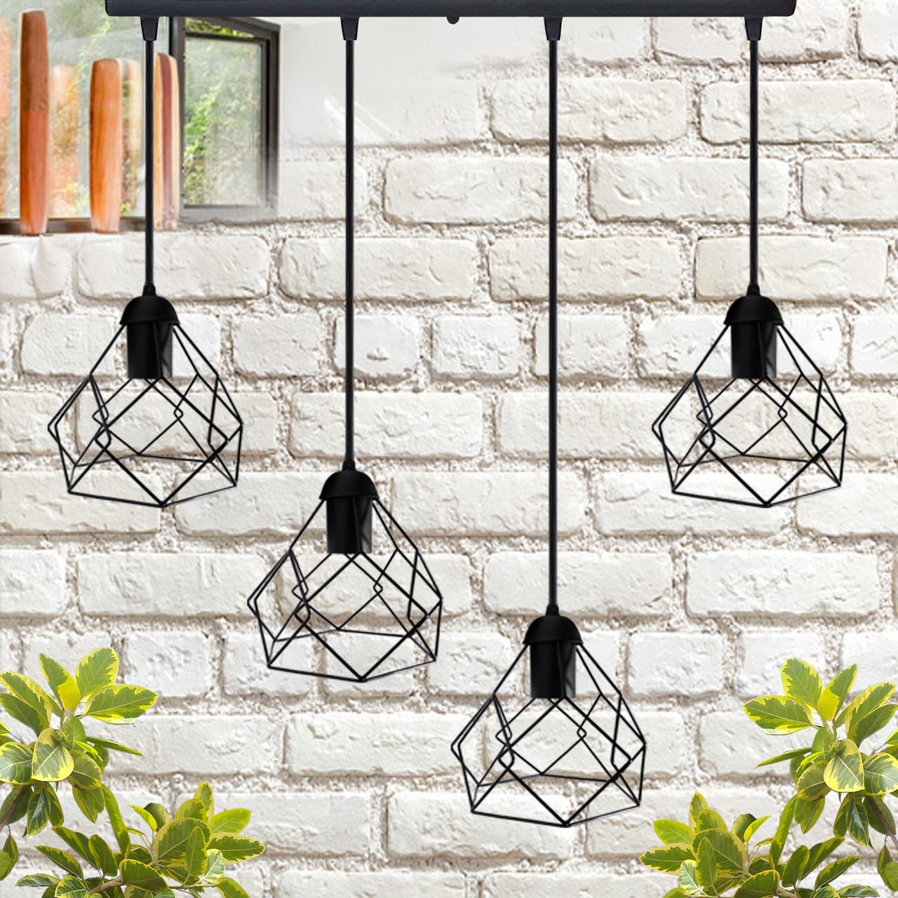 """Подвесной металлический светильник, современный стиль, loft, vintage, modern style """"RUBY-4"""" Е27  черный цвет"""