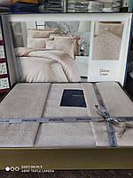 Премиум постельный комплект евро сатин жаккард кремовый