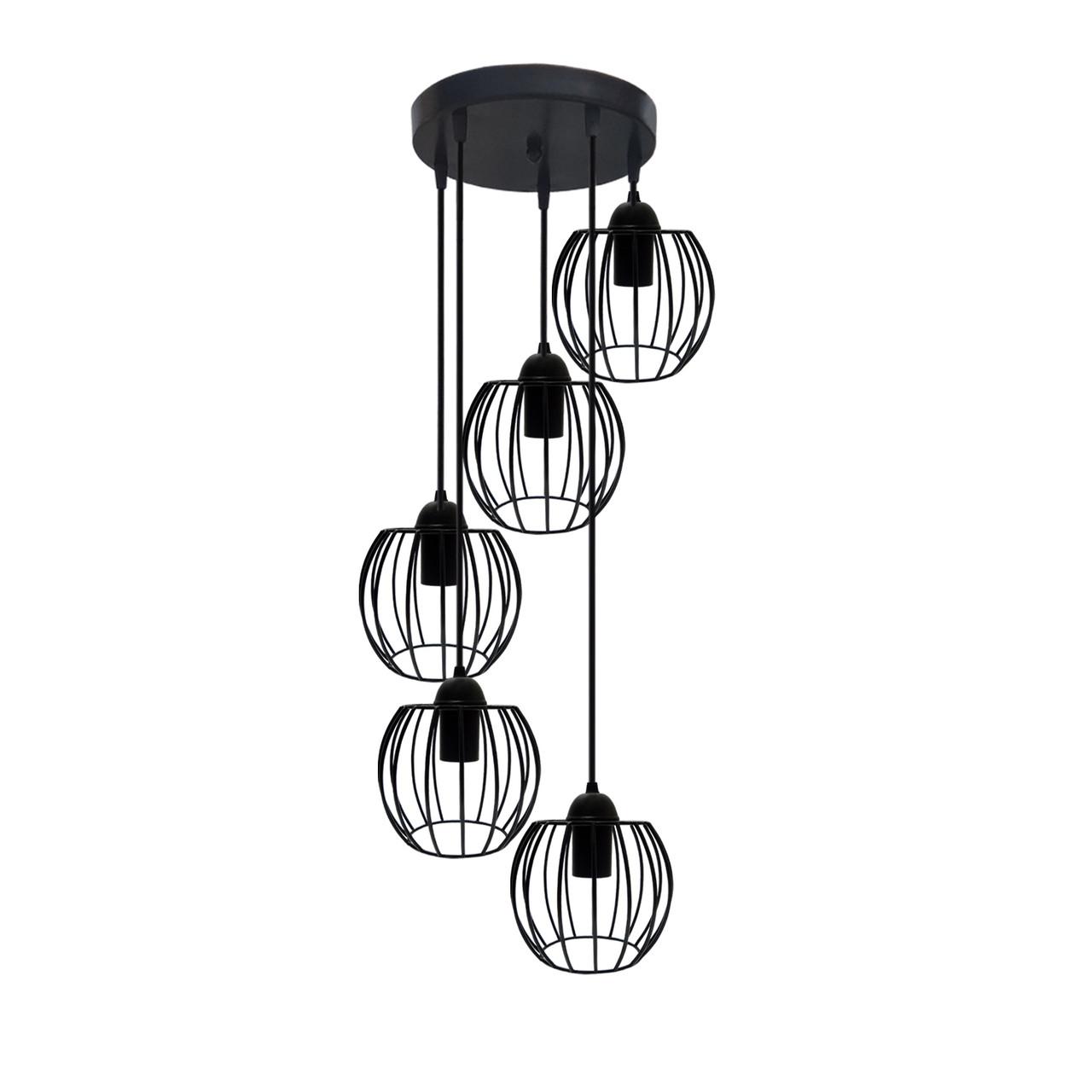 """Подвесной металлический светильник, современный стиль """"BARREL-5GB"""" Е27  черный цвет"""
