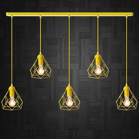 """Подвесной металлический светильник, современный стиль, loft, vintage, modern style """"RUBY-5Е"""" Е27  желтый цвет, фото 2"""
