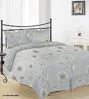 Комплект красивого постельного белья отличного качества, полуторка, одуванчики на сером