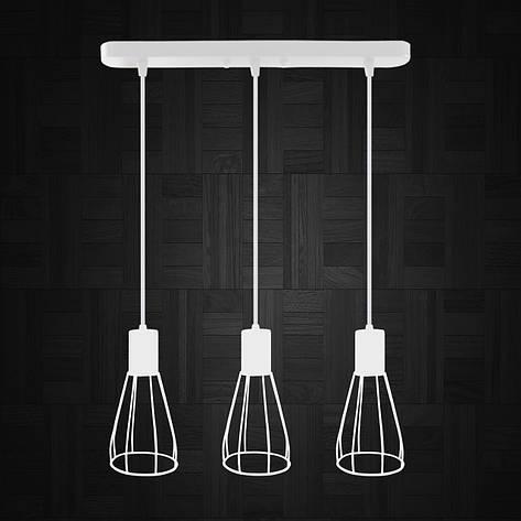 """Подвесной металлический светильник, современный индустриальный стиль """"CARAT-3W"""" Е27  белый цвет, фото 2"""