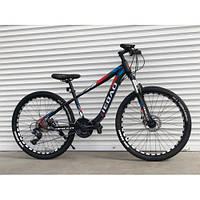 """Велосипед гірський TopRider-006, 27 швидкостей, колеса 26"""", синьо-червоний, фото 1"""