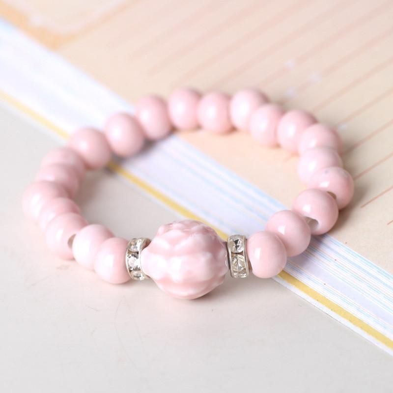 Летний женский браслет с керамическими бусинами «Розовая Нежность» (розовый)