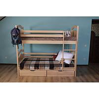 Ліжко двоярусне з натурального дерева Віні Пух