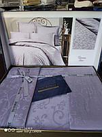 Премиум постельный комплект евро сатин жаккард фиолетовый