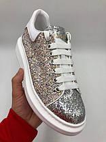 "Кроссовки Alexander McQuen Lace-Up Glitter-leather ""Белые"", фото 2"