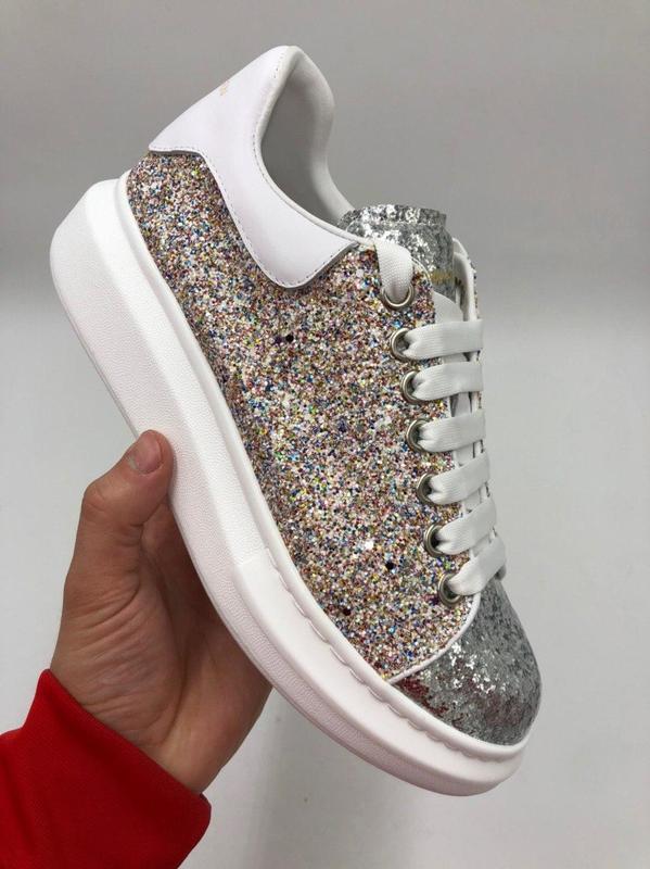 "Кроссовки Alexander McQuen Lace-Up Glitter-leather ""Белые"""