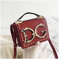 Маленькая женская сумка в стиле D.G темно-красная