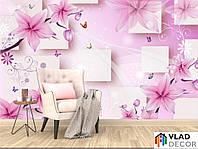 Фотообои 3д розовые цветы по Вашим размерам