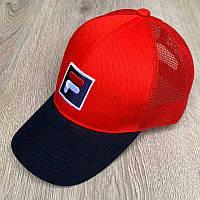 Бейсболка унисекс Fila реплика Красная с черным козырьком с сеткой
