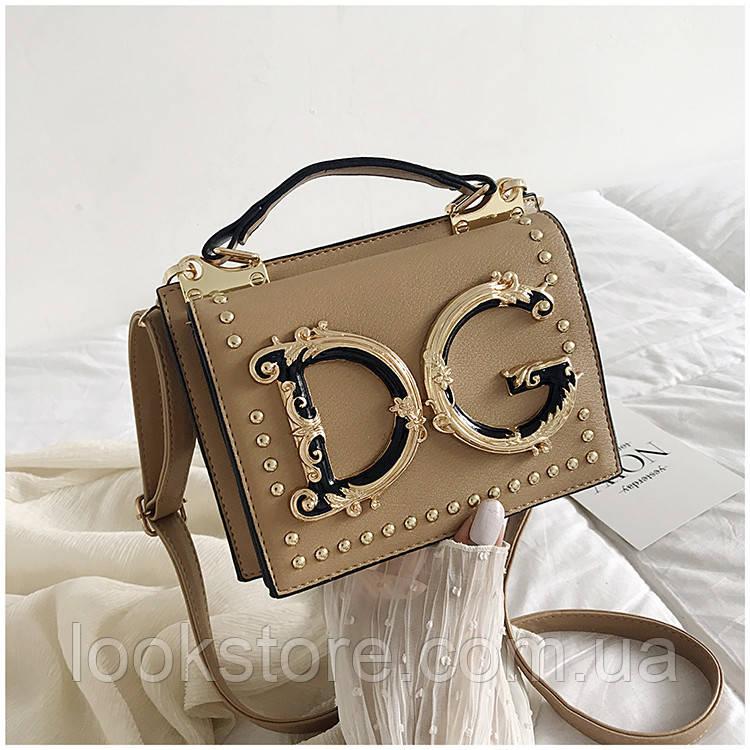 Маленькая женская сумка в стиле D.G бежевая