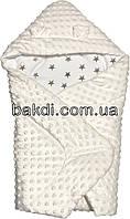 Осенний весенний утеплённый конверт 75х70 демисезонный на выписку из роддома плюш молочный с капюшоном ушками для новорожденных мальчику/девочке М-817