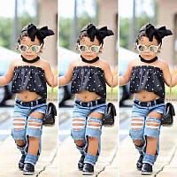 Комплект летний для девочки рваные джинсы с топом и повязкой