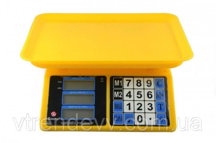 Електронні ваги торгові Domotec MS-266/4V/40kg/5g з лічильником ціни