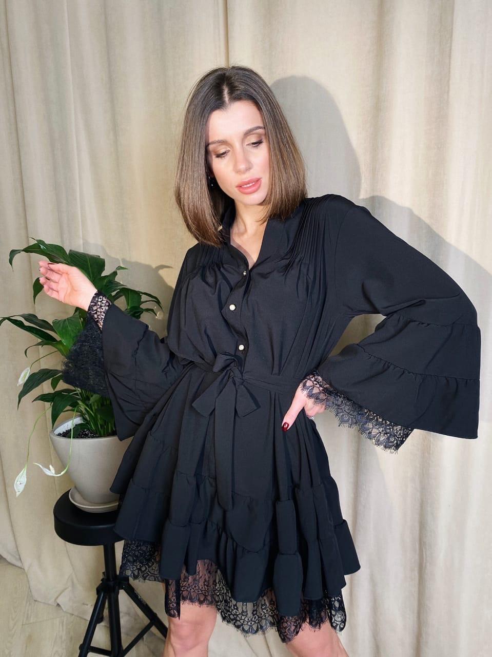 Платье рубашка свободное летнее снизу кружево