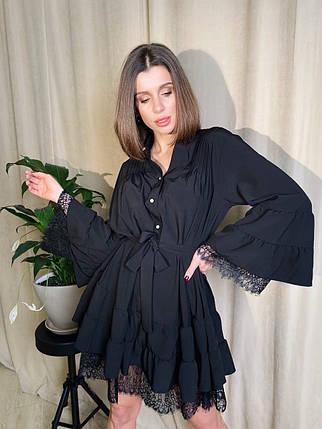Платье рубашка свободное летнее снизу кружево, фото 2