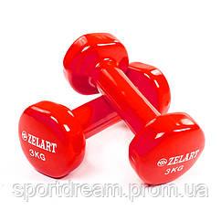 Виниловые гантели для фитнеса 2 х 3 кг TA-5225-3(R) красный