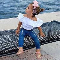 Комплект летний для девочки рваные джинсы и белый топ