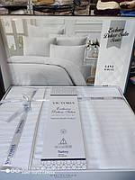 Постельное белье подарок евро размер страйп-сатин белый