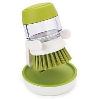 Щетка для мытья посуды JESOPB с дозатором для моющего средства Зеленая