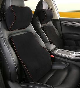 Автомобильная подушка (набор) под поясницу и на подголовник в автомобиль Luxury
