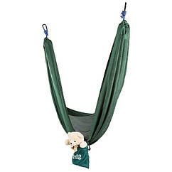 """Підвісний гамак похідної GreenCamp """"MINAS"""", розмір 270*180 см, поліестер, колір зелений, 2 карабіна"""