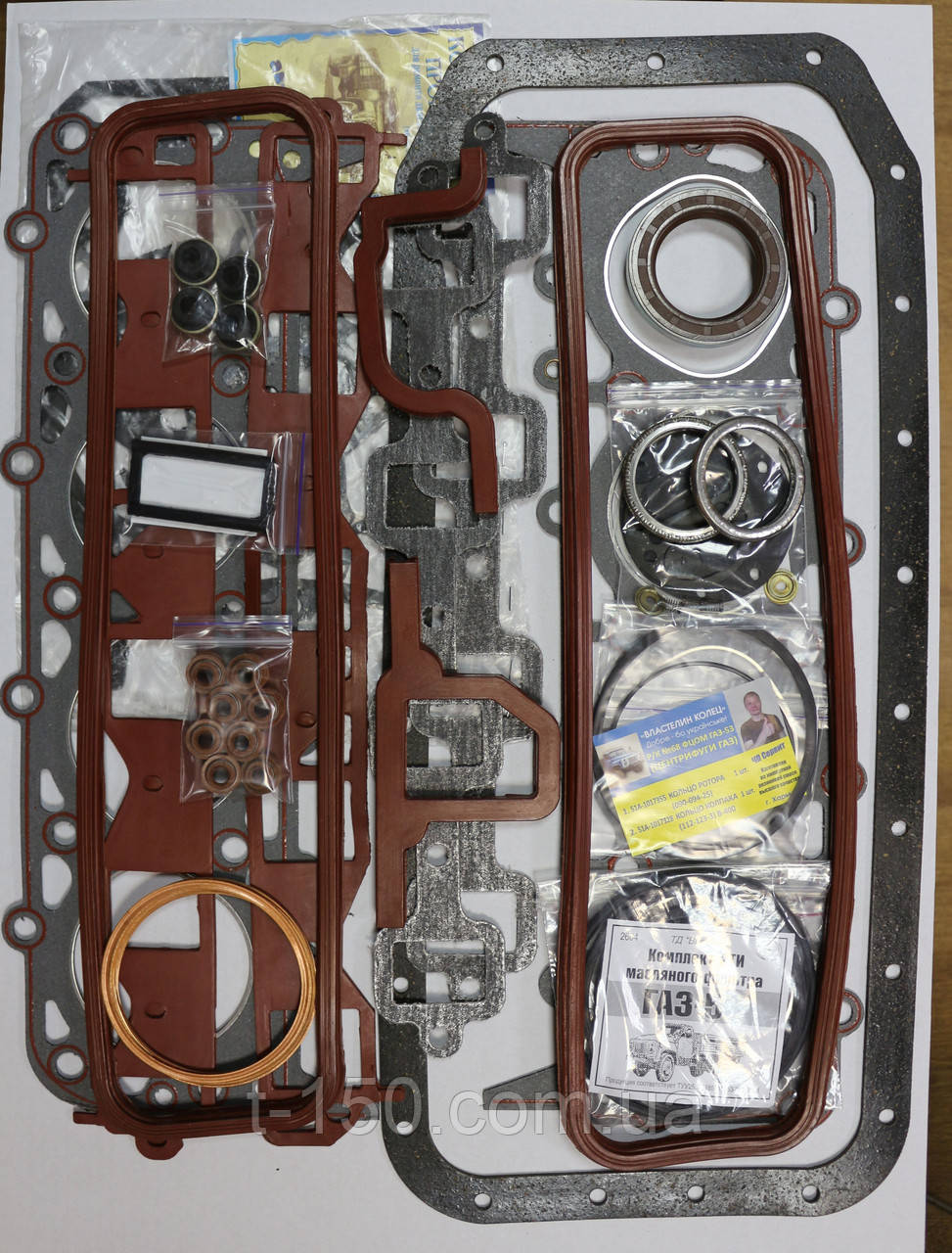 Набор прокладок двигателя ГАЗ-53, 3307 полный с РТИ Премиум