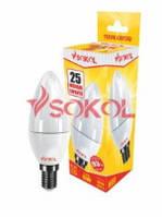 Лампа светодиодная LED свеча 6W 220B E14 3000K new SOKOL