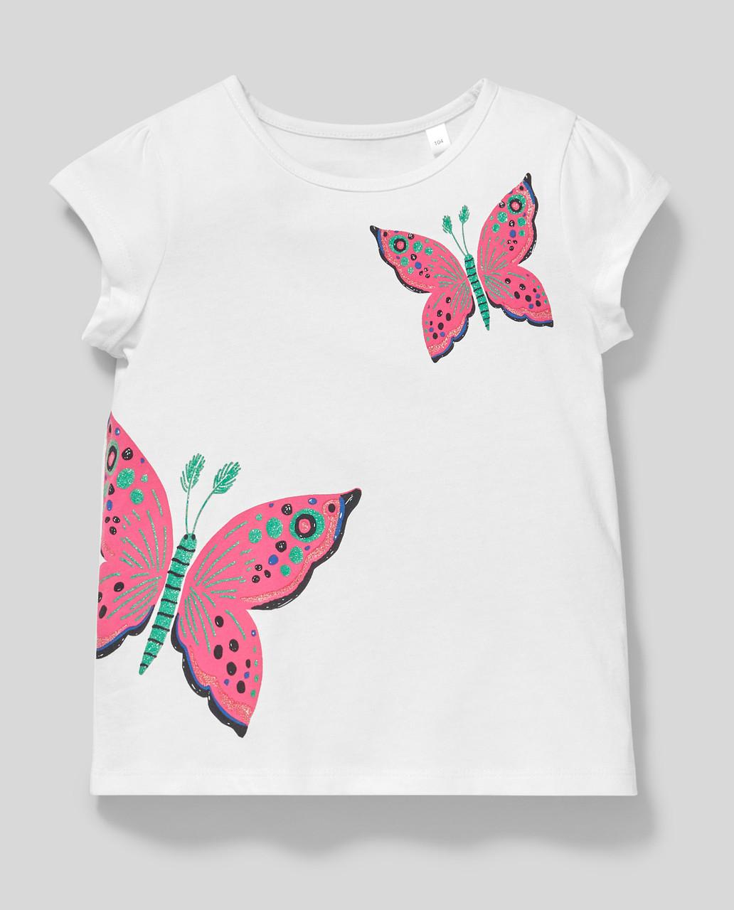 Белая футболка на девочку с бабочками C&A Германия Размер 110