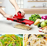 Овощерезка Mandoline Slicer 6 in 1 | Ручная овощерезка с контейнером | Мультислайсер для овощей, фото 8