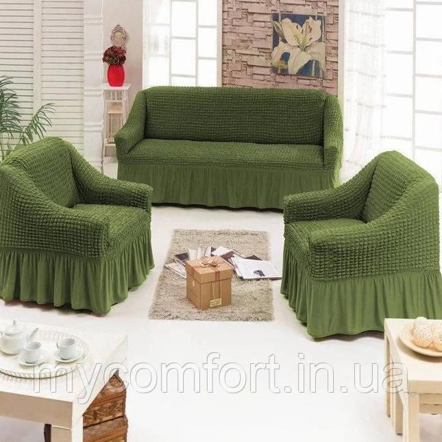 Чехол на диван и два кресла. Зелёный