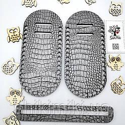 Боковинки для сумок Фанера +Экокожа под  крокодила, цвет Crocodile Silver