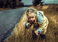 """Фото листівка """"Дівчинка збирає квіти вздовж дороги"""", фото 1"""