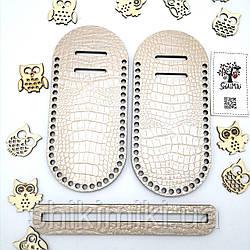 Боковинки для сумок Фанера +Екокожа під крокодила, колір Crocodile Milk