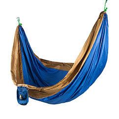 """Підвісний гамак похідної GreenCamp """"VOYAGE"""", 300*200 см, парашутний шовк, синій/гірчичний"""