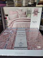 Постельное белье евро сатин люкс VIP розовое