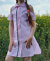 Стильное платье- рубашка   для девочки  код 706 лето , размеры на рост от 134 до 152 возраст 8 и старше, фото 1