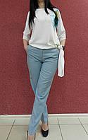 Однотонные классические женские брюки серые голубые бирюза нарядные, офисные, повседневные норма батал легкие