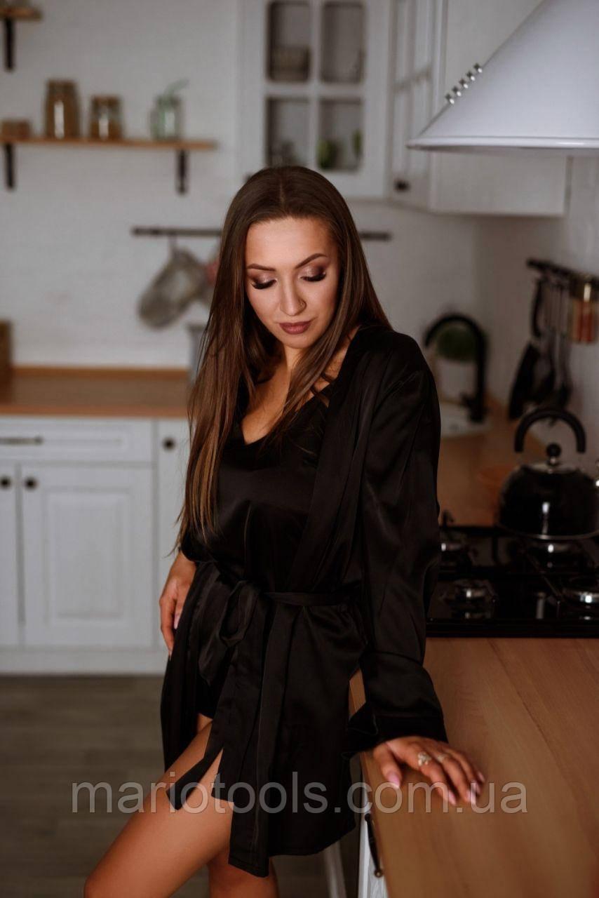 Шелковый комплект (Халат+пижама) +Подарочная Упаковка!