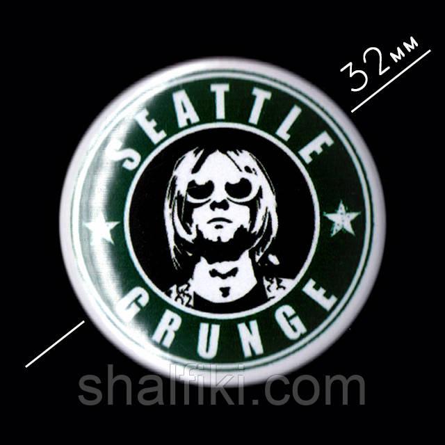 """Seattle Grunge Search Курт Кобейн (Нирвана / Nirvana)"" значок круглый на булавке, Ø32 мм"